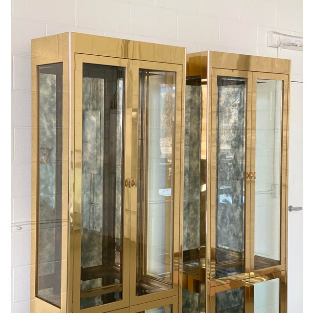 Art Deco 1970s Art Deco Mastercraft Brass and Glass Display Cabinets-a Pair For Sale - Image 3 of 11