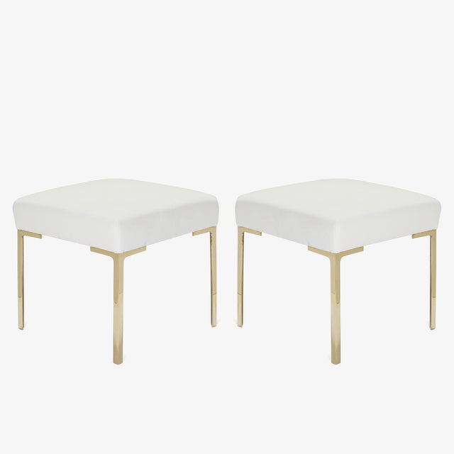 Metal Astor Petite Brass Ottomans in Snow Velvet by Montage - Pair For Sale - Image 7 of 7