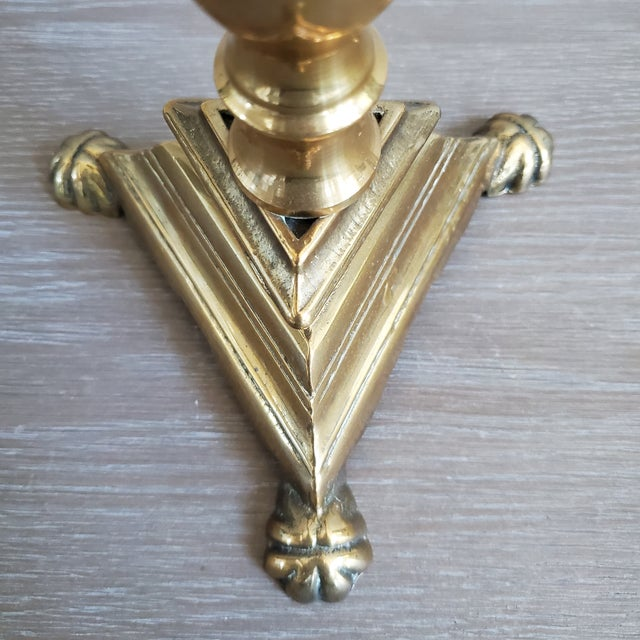1980s Vintage Solid Brass Footed CandleStick For Sale - Image 5 of 7