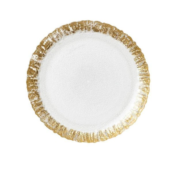 Kenneth Ludwig Chicago Kenneth Ludwig Chicago Rufolo Glass Gold Rim Salad Plate For Sale - Image 4 of 4