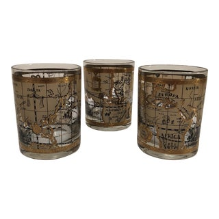 Barware mid century cera 22k old world map drinking glasses set of 3 gumiabroncs Gallery