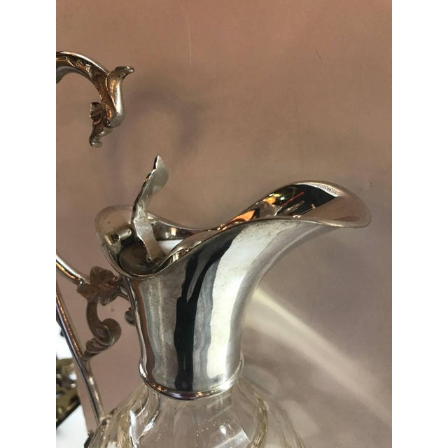 Art Nouveau Antique 19th Century Tall Silver Plated Wine Decanter Claret For Sale - Image 3 of 8