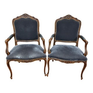 Vintage French Louis XV Style Walnut Fauteuil Chairs - a Pair For Sale