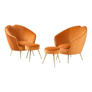 Italian Lounge Chairs and Matching Stools by I.S.A. Bergamo - A Pair For Sale