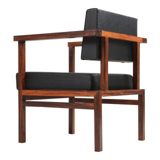 Wim Den Boon Executive Chair in Black Leather and Rosewood - 1950s For Sale
