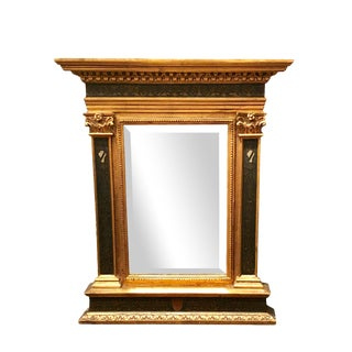 Italian Renaissance Style Carved Giltwood & Painted Mirror For Sale