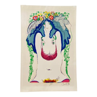 """Vintage 1970s Frank Gallo Hand-Signed Artist's Proof Silkscreen """"Flowers in Her Hair"""" For Sale"""