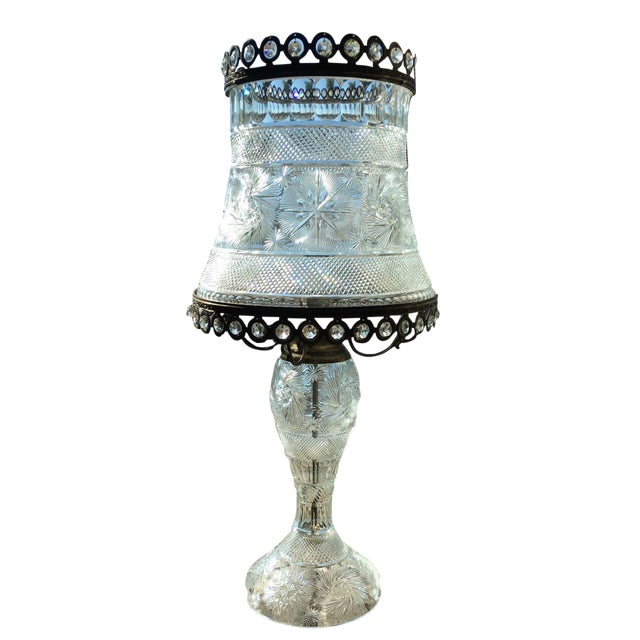 American Brilliant Cut Crystal Lamp For Sale