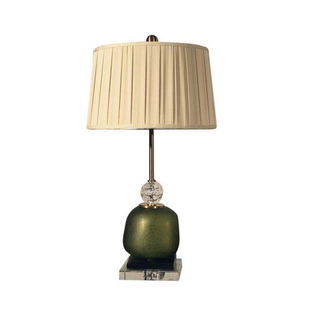John Richard Green Glass & Crystal Buffet Lamp For Sale