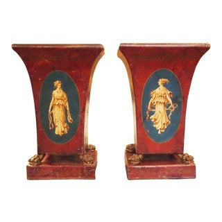 Pair of 19c. Neoclassical Tole Vases For Sale