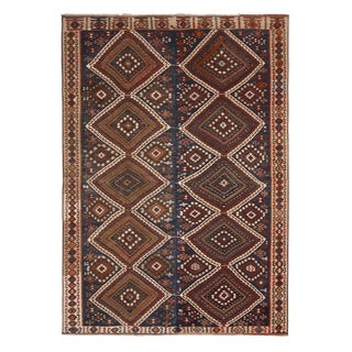 1950s Vintage Mid-Century Van Beige-Brown and Blue Wool Kilim Rug-5′ × 7′ For Sale