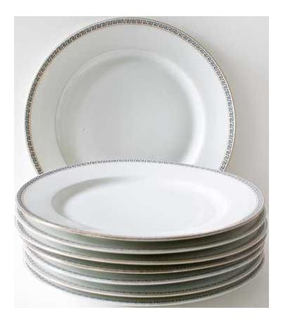 sc 1 st  Chairish & Greek Key Dinner Plates French Limoges Porcelain - Set of 8 | Chairish