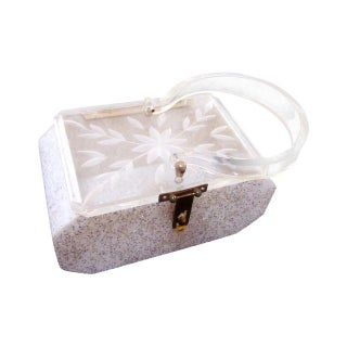 Vintage Art Deco Lucite Glitter Purse Box For Sale