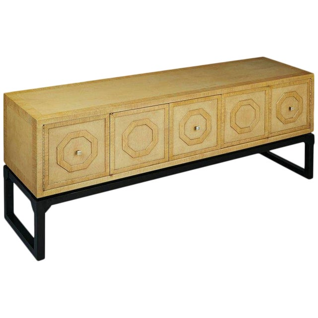 Harold Schwartz for Romweber Sideboard With Decorative Tile Pulls, Circa 1970 For Sale