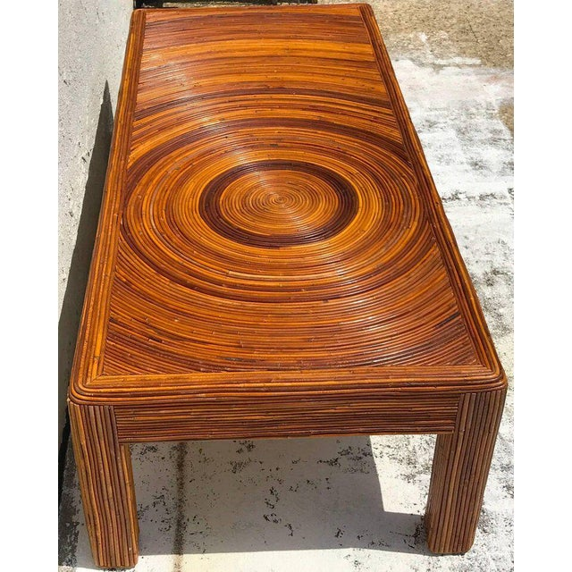 1960s Crespi Style Split Bamboo Long Coffee Table For Sale - Image 5 of 11