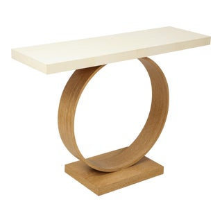 Sculptural Custom Cerused Oak and Parchment Console For Sale