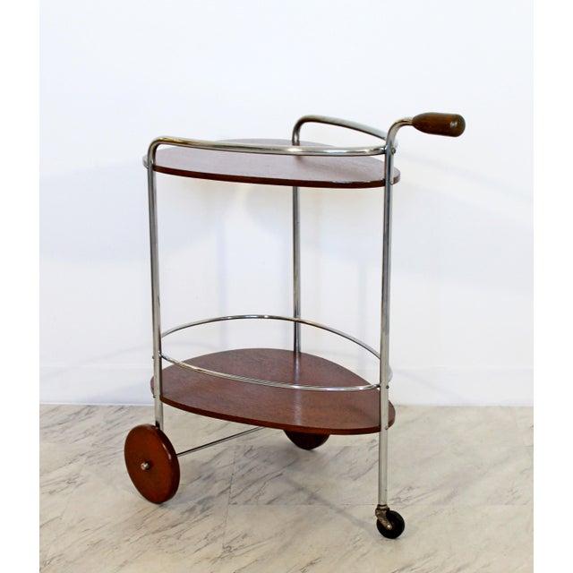 Art Deco Art Deco Modern Chrome & Wood 2-Tier Bar Serving Server Cart Treitel Gratz 1940s For Sale - Image 3 of 12
