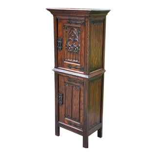 Antique French Gothic Vestry Cabinet For Sale