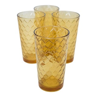 Vintage Anchor Hocking Amber 'Honeycomb' Tumblers - Set of 4