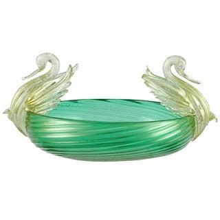 Seguso Vetri d'Arte Murano Green Gold Leaf Swans Italian Art Glass Bowl For Sale