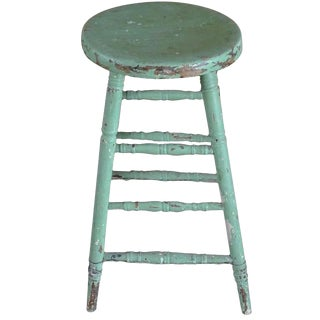 19th Century French Painted Pinewood Bar Counter Stool For Sale