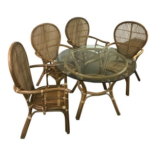 1970s Boho Chic Rattan Bamboo Fan Chairs Dining Set - 5 Pieces For Sale