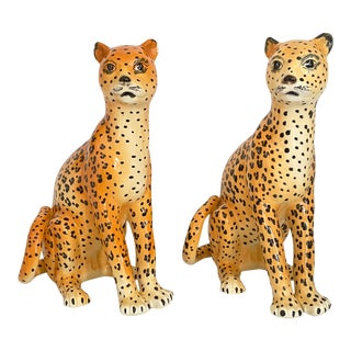 1980s Ciba Italy Ceramic Leopard Statues- a Pair For Sale