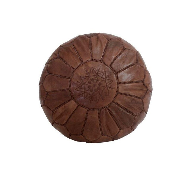 Brown Moroccan Leather Pouf - Image 1 of 3