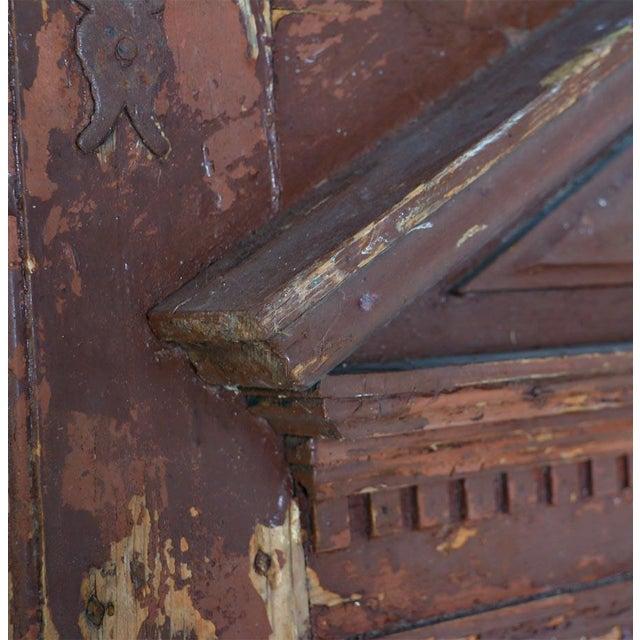 Rustic Antique Original Brown Painted Rustic Wood Door For Sale - Image 3 of 6