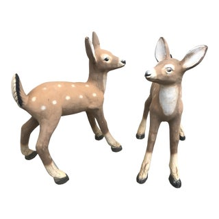 Large 1960s Vintage Cast Concrete Deer Garden Statues- a Pair For Sale