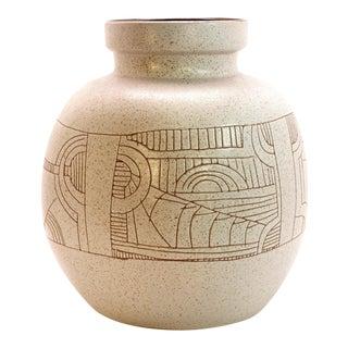 1960s Vintage Lapid Israel Signed Yoal Large Round Stoneware Vase For Sale