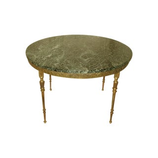 Bronze Neoclassical Marble & Mirror Coffee Table For Sale