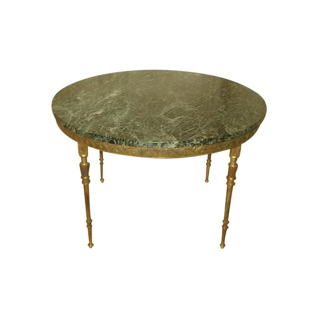 Bronze Neoclassical Marble & Mirror Coffee Table - Image 1 of 10