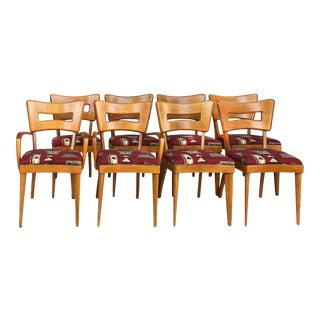 """1950s Heywood-Wakefield """"Dog Biscuit"""" Dining Chairs-Set of 8 For Sale"""