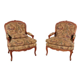Pair of Hickory White Louis XV Style Walnut Tapestry Bergere Chairs For Sale