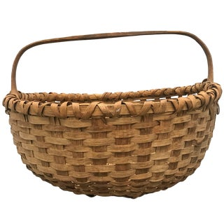 19th Century American Splint Oak Gathering Basket For Sale