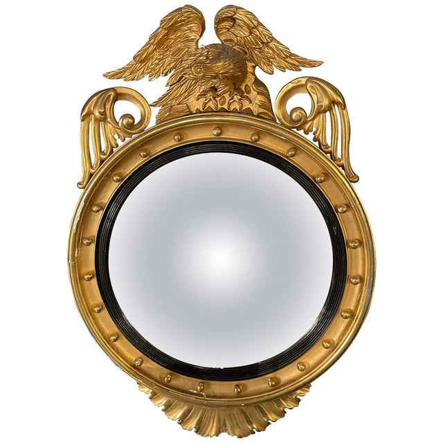 Federal Style Gilt Gold Convex Mirror, Wall, Console or Pier Mirror For Sale - Image 10 of 10