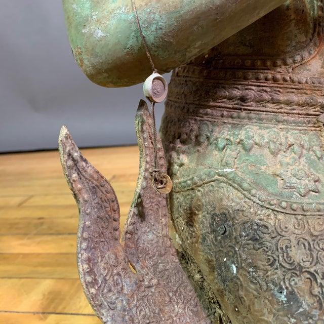 "Early 1900s Mythologic Thepphanom Angel 30"" Bronze Statue, Thailand For Sale - Image 10 of 12"