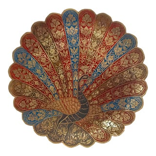 Brass Cloisonné Peacock Plate