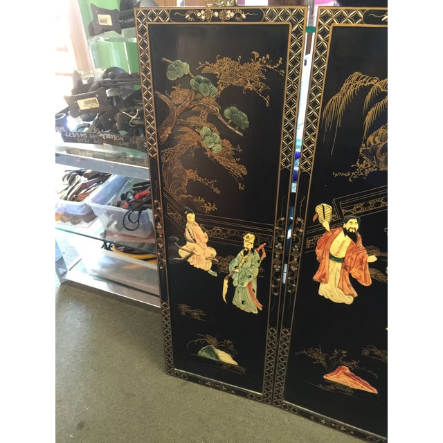 Chinese Black Lacquer Hardstone Wall Panels Set of Four For Sale - Image 4 of 8
