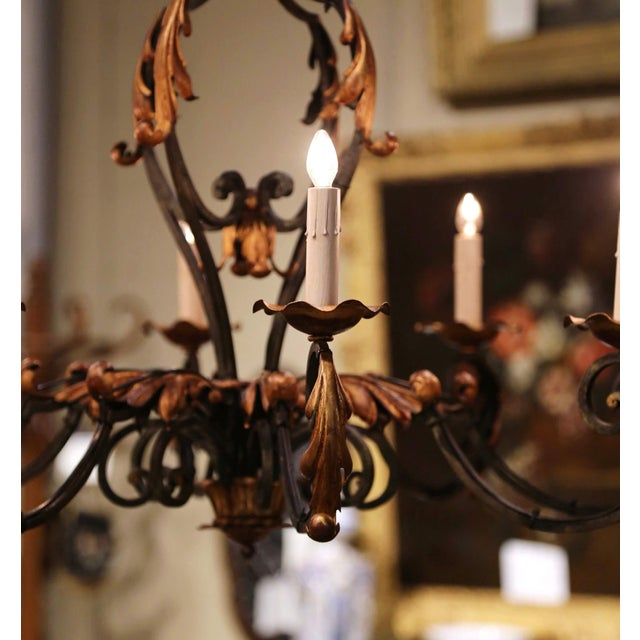 Early 20th Century French Louis XV Painted & Gilt Six-Light Iron Chandelier For Sale In Dallas - Image 6 of 12