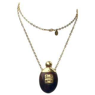 Givenchy Vintage Perfume Bottle Necklace Gold-Toned Link Chain Tortoise, 1970s For Sale