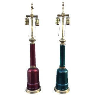 1950s Italian Brass & Glass Table Lamps - A Pair For Sale