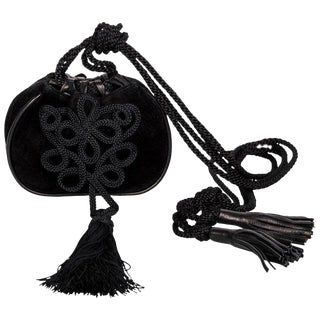 Yves Saint Laurent Russian Collection Documented Suede Leather Tassel Bag, 1990s For Sale