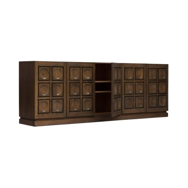Brown Brutalist Stained Oak Credenza, 1970s For Sale - Image 8 of 11