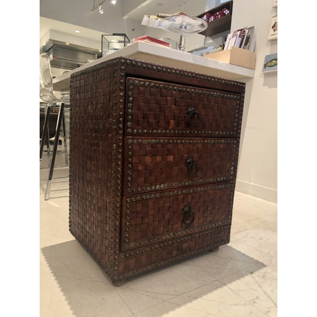Metal Boho Chic Brown Weaved Leather Chest of Drawers For Sale - Image 7 of 7