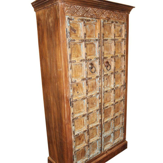 1920s Indian Teak Hand Carved Armoire For Sale - Image 4 of 7
