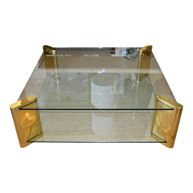 Karl Springer Mid-Century Modern Brass & 2-Tier Glass Coffee Table, Signed For Sale