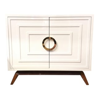 Mid-Century Modern Style Worlds Away White Lacquer Bernard Cabinet For Sale