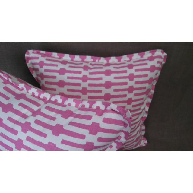 Annie Selke Throw Pillows in Links Cotton Print - a Pair For Sale - Image 4 of 5